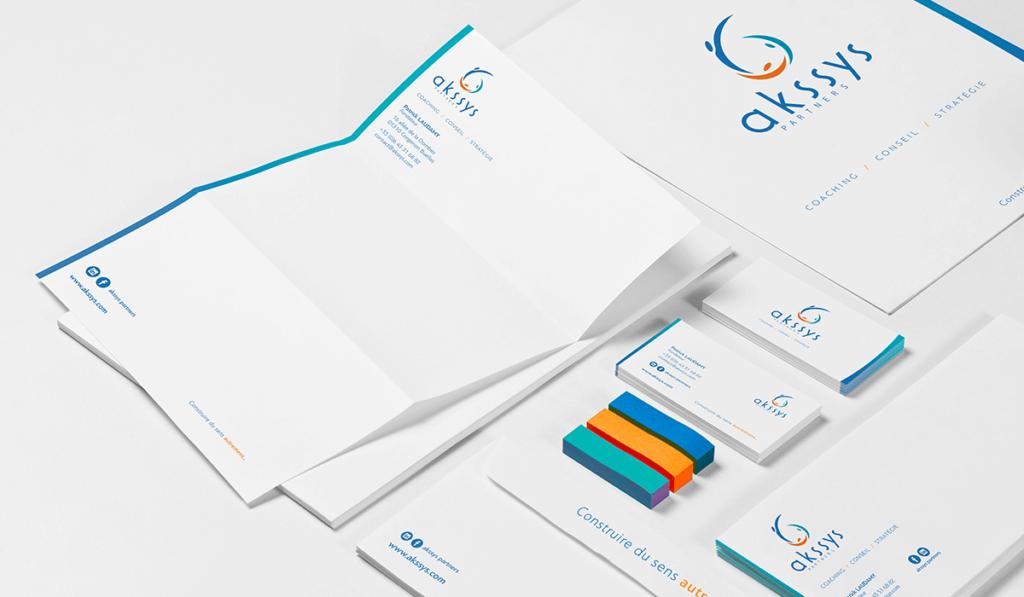 image de la création de l'identité de la marque Akssys Partners par Laurent Agier, agence de communication sur Toulon.