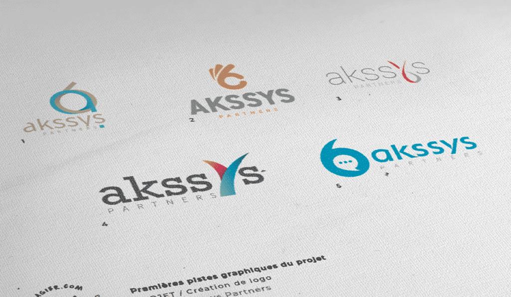 visuel des différentes propositions du logo pour Akssys Partners réalisées par Laurent Agier, agence de communication à Toulon