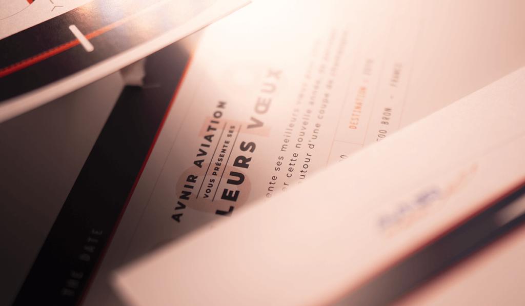 visuel d'entête d'une invitation pour Avnir aviation, réalisée par Laurent Agier, agence de communication à Toulon