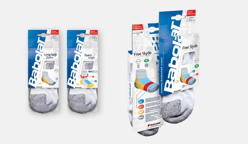 visuel d'entête pour la création packaging de chaussettes Babolat, réalisée par Laurent Agier, en agence de communication