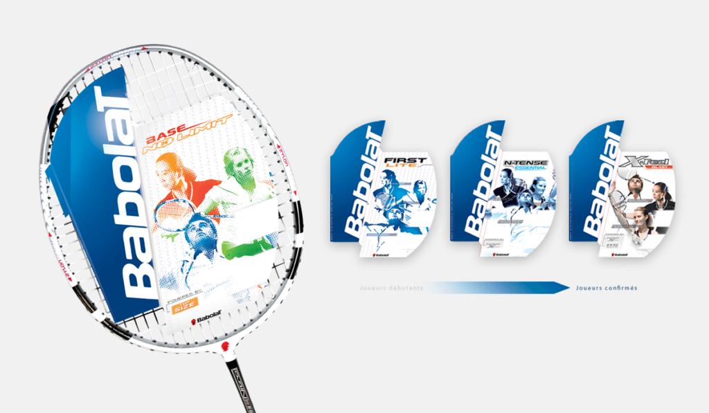 visuel d'entête pour la création d'étiquettes packaging des raquettes Babolat, réalisée par Laurent Agier, en agence de communication