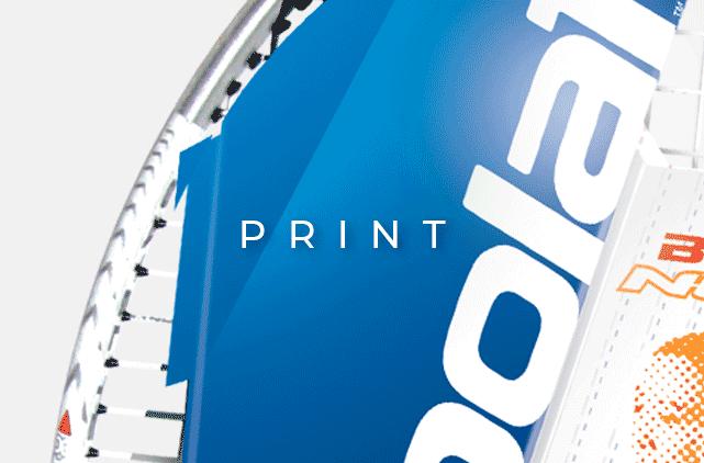 image mise en avant pour la création d'étiquettes packaging pour des raquettes Babolat, par Laurent Agier, en agence de communication