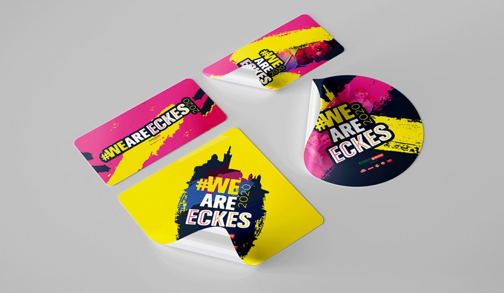 visuel de quatre stickers avec le logo We Are Eckes, réalisés par Laurent Agier, en agence de communication