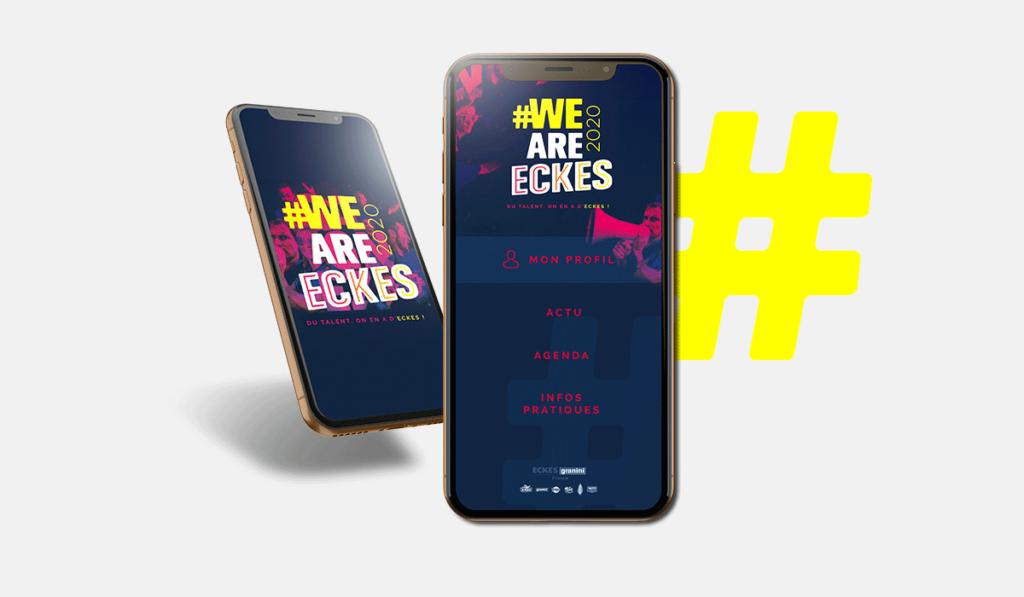 visuel du design graphique de l'application We Are Eckes, réalisé par Laurent Agier, en agence de communication