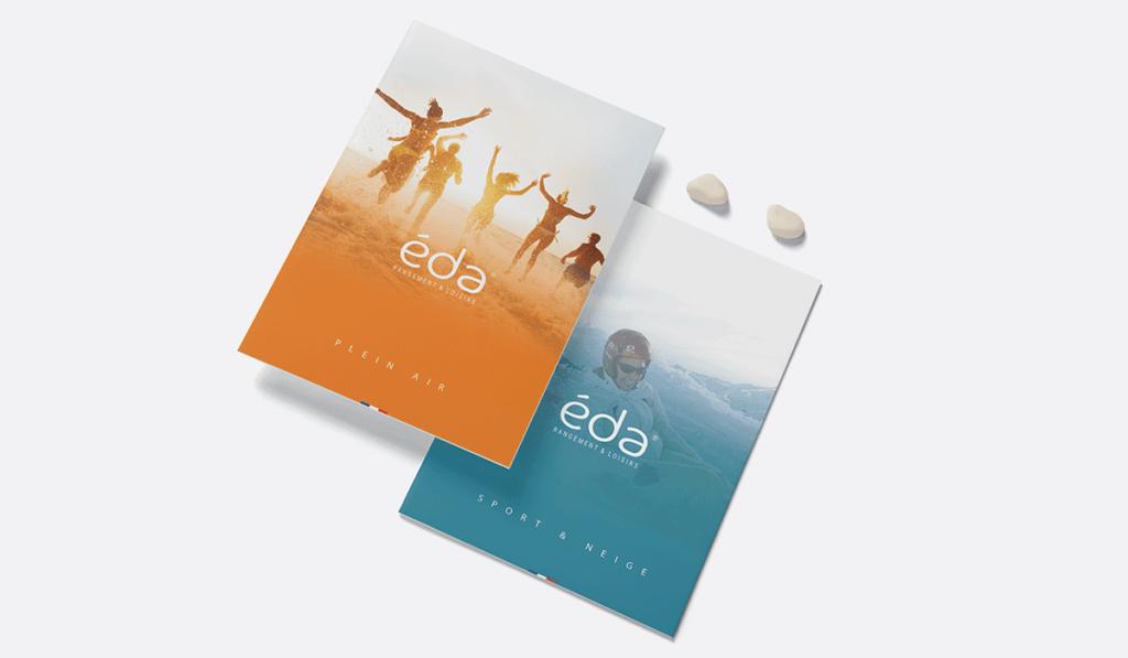 visuel d'entête de deux plaquettes promotionnelles pour EDA, réalisées par Laurent Agier, agence de communication à Toulon