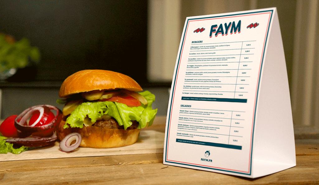 visuel de la réalisation des menus du restaurant Faym par Laurent Agier, agence de communication à Toulon