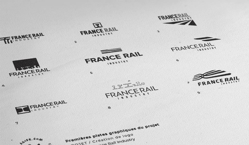 visuel des différentes propositions du logo pour France Rail Industry réalisées par Laurent Agier, agence de communication à Toulon