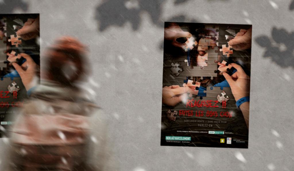 visuel d'entête de la réalisation de l'affiche «non au harcèlement» par Laurent Agier, agence de communication à Toulon