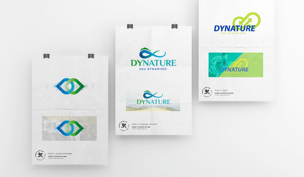 visuel des différentes propositions du logo «Dynature» pour la marque Natura Mundi réalisées par Laurent Agier, agence de communication à Toulon