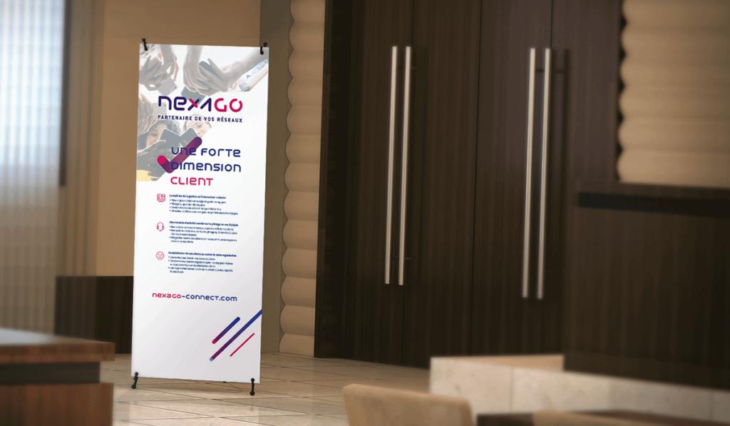 visuel du roll-up événementiel de Nexago réalisé par Laurent Agier, agence de communication à Toulon
