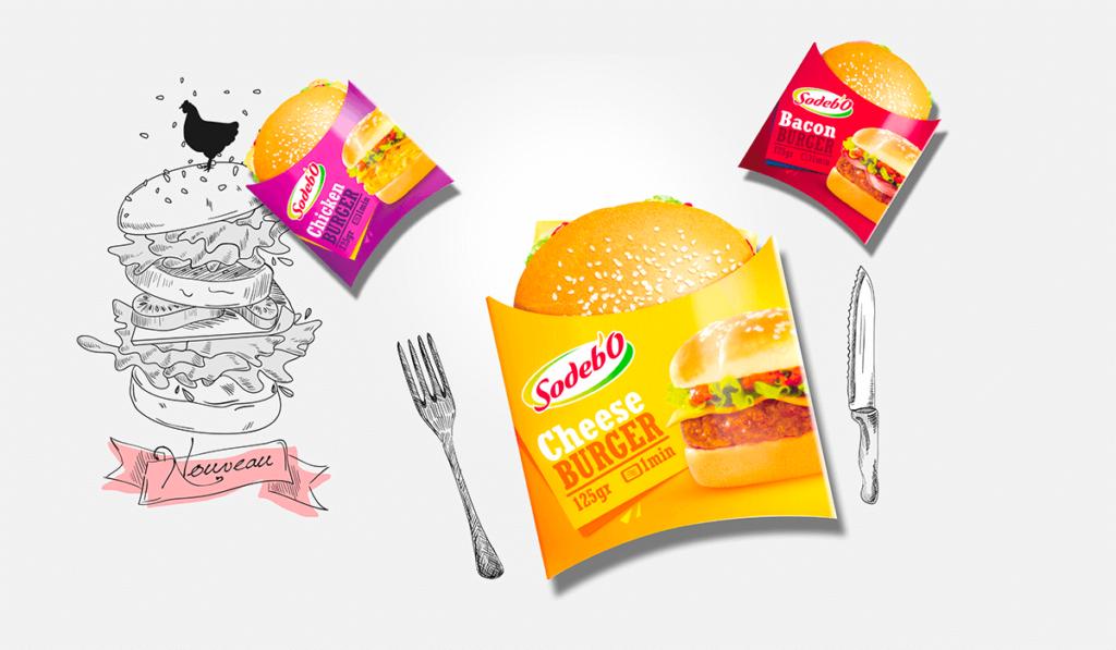 visuel de packagings alimentaire pour des burgers Sodebo, réalisés par Laurent Agier, agence de communication à Toulon