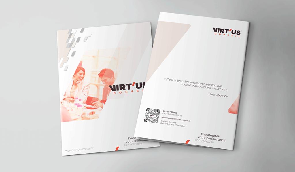 visuel d'entête pour la création graphique de la plaquette de Virtus Conseil, réalisée par Laurent Agier, en agence de communication