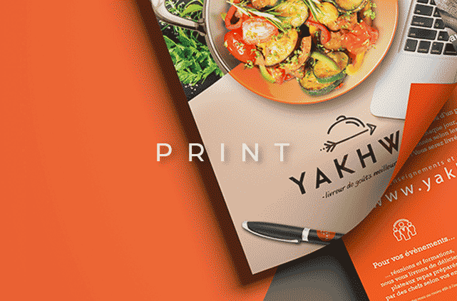 image mise en avant pour la création de flyers imprimés de la marque Yakhwa réalisée par Laurent Agier, agence de communication sur Toulon