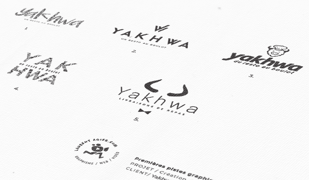 visuel des différentes propositions de logos pour Yakhwa réalisées par Laurent Agier, agence de communication à Toulon