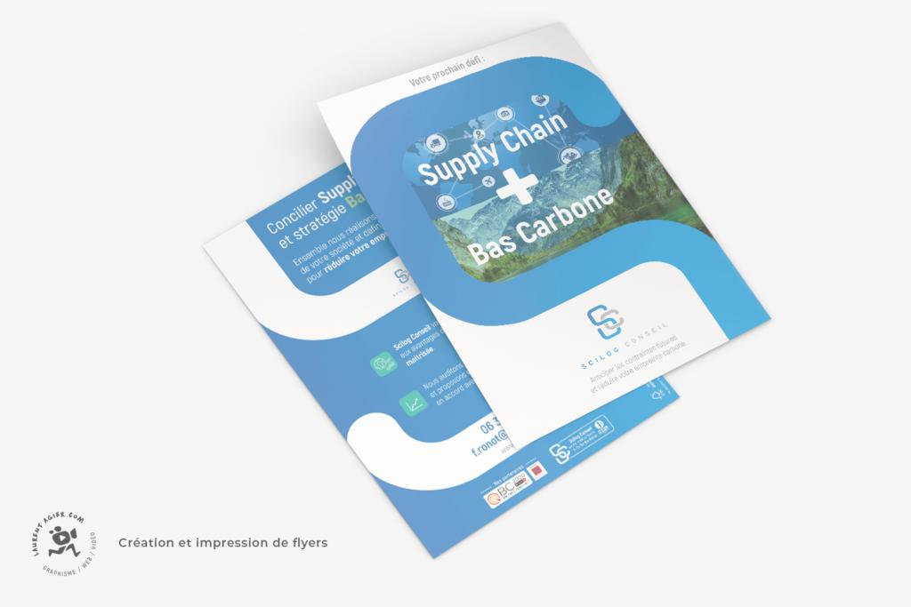 Réalisation de flyers A5 pour Scilog Conseil, par Laurent Agier, agence de communication basée sur Toulon