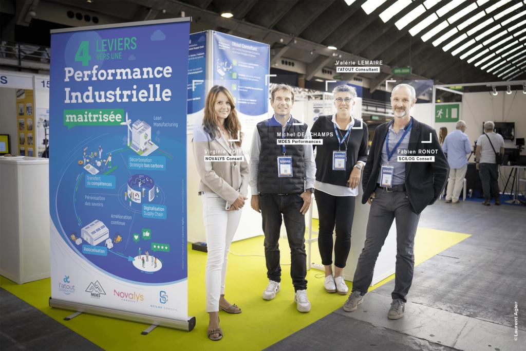 Virginie Voirin, Michel Deschamps, Valérie Lemaire et Fabien Ronot au salon Industria Méditerranée